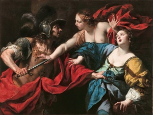 Venus preventing her son Aeneas from killing Helen